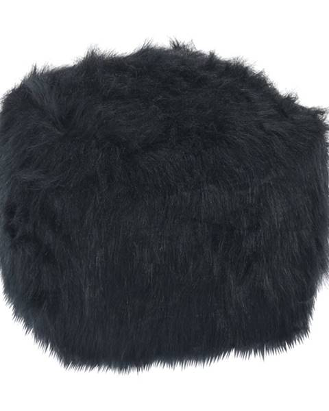 Kondela Taburet umelá kožušina čierna AZENE