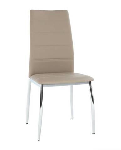 Jedálenská stolička ekokoža hnedá/chróm DELA