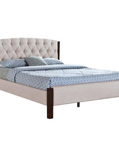 Manželská posteľ piesková/tmavý orech 180x200 ELENA NEW