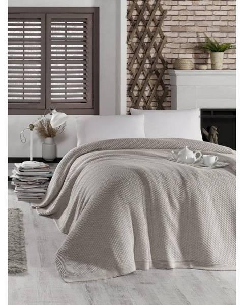 Homemania Sivobéžová prikrývka cez posteľ Silvi, 220 x 240 cm