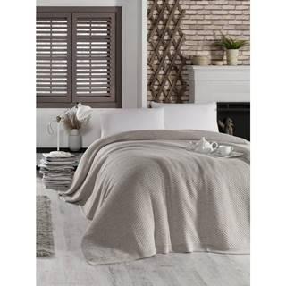 Sivobéžová prikrývka cez posteľ Silvi, 220 x 240 cm