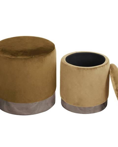 Tempo Kondela Set dvoch taburetov hnedá/strieborná chróm a béžová/strieborná chróm AIGUL SET