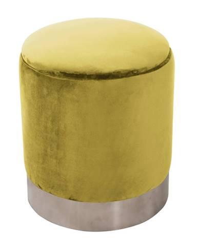 Taburet s úložným priestorom zlatá Velvet látka/strieborná chróm DARON