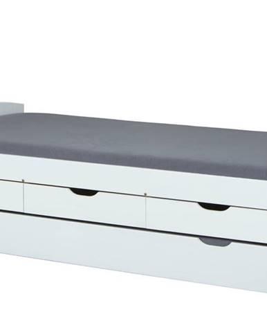 Posteľ s výsuvným lôžkom MARULLA biela, 90x200 cm